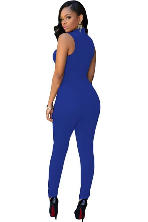 High Neck Sleeveless Tapered Leg Jumpsuit in Blue