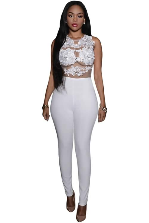 Sleeveless Mesh Lace Floral Jumpsuit in White