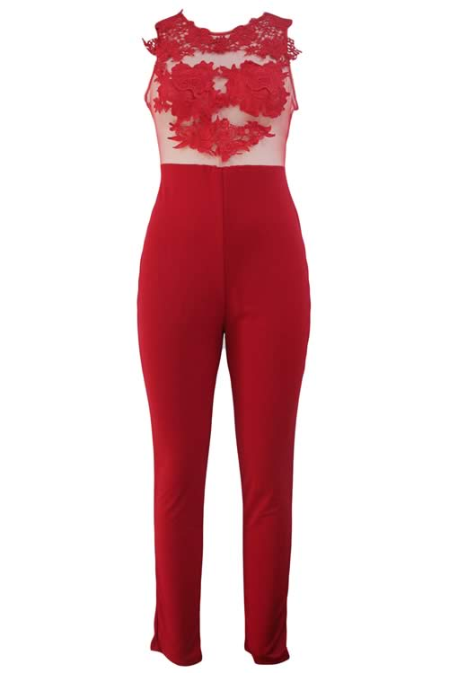 Sleeveless Mesh Lace Floral Jumpsuit in Red