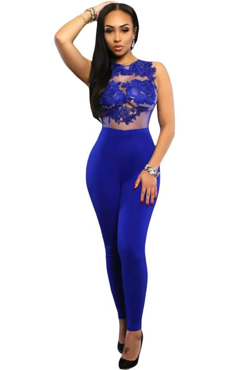 Sleeveless Mesh Lace Floral Jumpsuit in Blue
