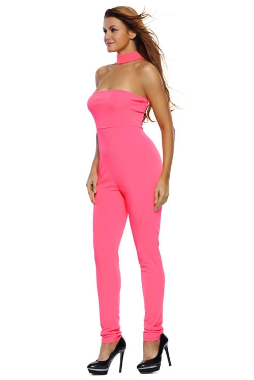 Strapless Choker Tapered Leg Jumpsuit in Rose
