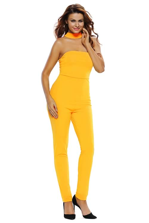 Strapless Choker Tapered Leg Jumpsuit in Yellow
