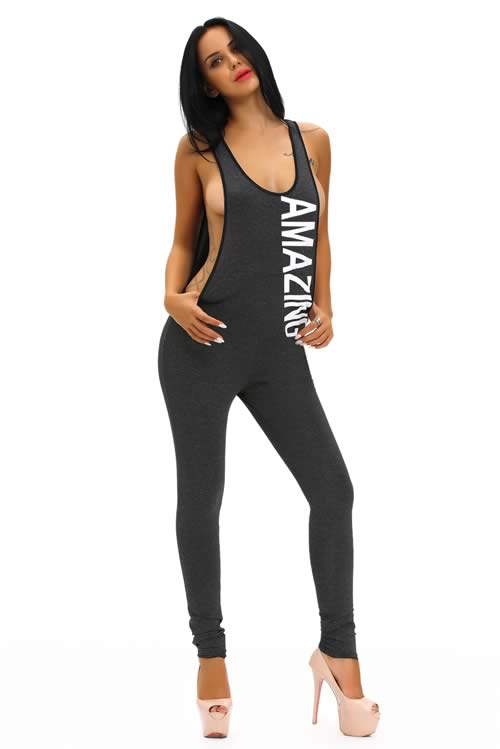 Plunging V Back Letter Printed Sleeveless Jumpsuit in Black