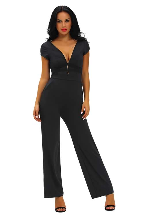 Short Sleeve Deep V Neck Backless Back Jumpsuit in Black