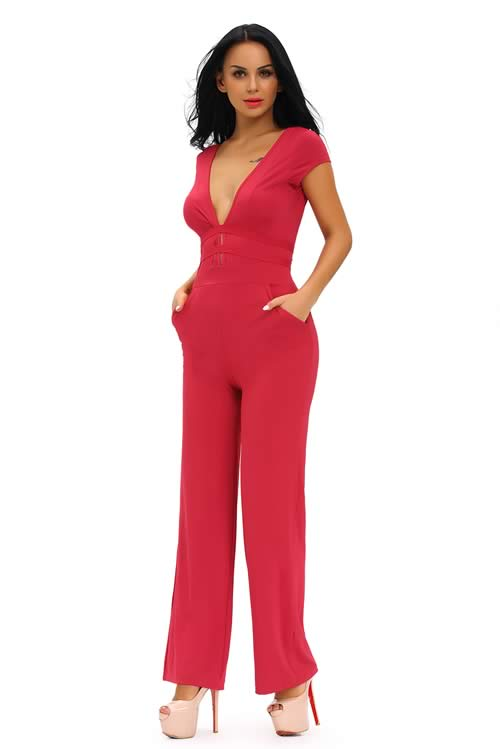Short Sleeve Deep V Neck Backless Back Jumpsuit in Red