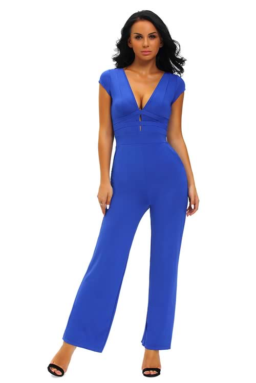 Short Sleeve Deep V Neck Backless Back Jumpsuit in Blue