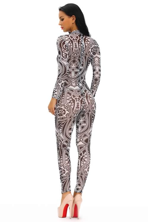 Tribal Tattoo Printed Sheer Mesh Jumpsuit in Black
