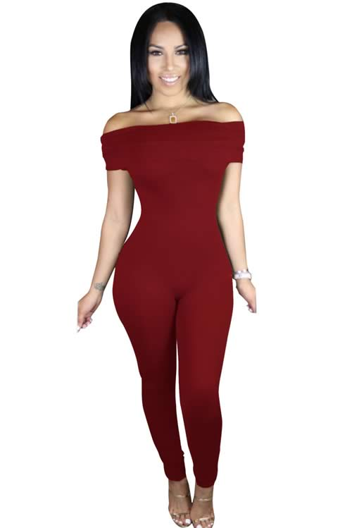 Short Sleeve Off Shoulder Tapered Leg Jumpsuit in Red
