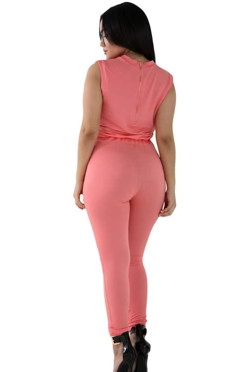 Zip Line Sleeveless High Neck Stretch Jumpsuit in Orange