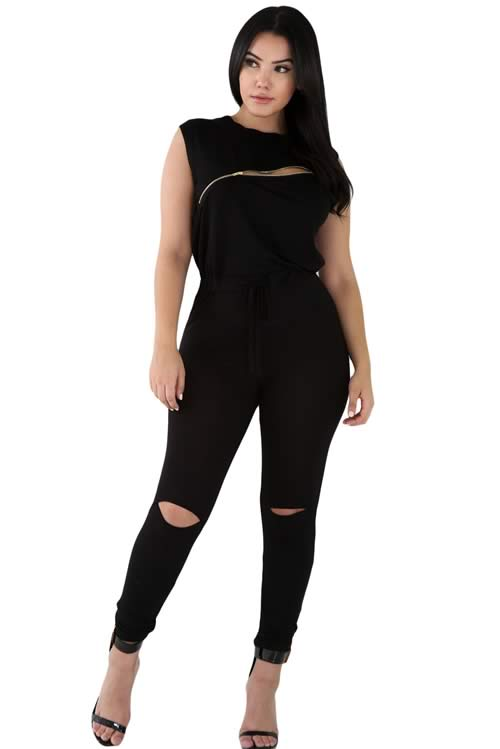 Zip Line Sleeveless High Neck Stretch Jumpsuit in Black