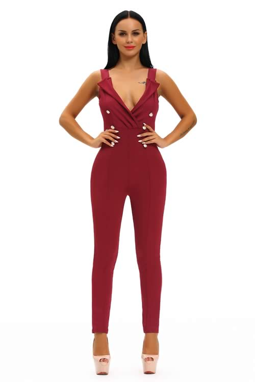 Sleeveless V Neck Button Sides Bodycon Jumpsuit in Red