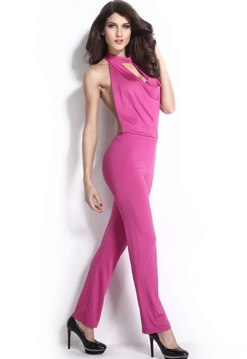 Sleeveless Halter Cowl Neck Backless Jumpsuit in Rose