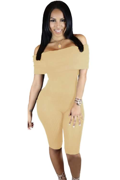 Knee Length Off Shoulder Ribbed Jumpsuit in Yellow