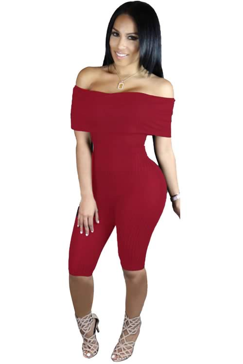 Knee Length Off Shoulder Ribbed Jumpsuit in Red