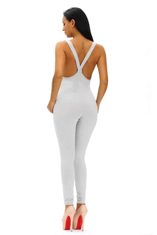 Sleeveless Plunging V Neck Cotton Jumpsuit in Grey