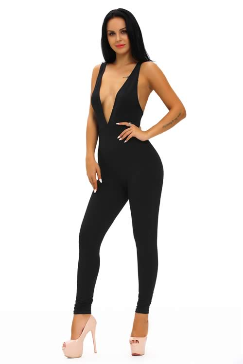Sleeveless Plunging V Neck Cotton Jumpsuit in Black