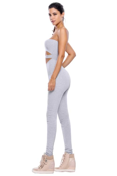 Skinny Strapless Cutout Capri Jumpsuit in Grey