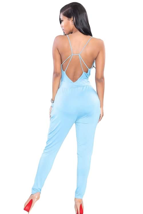 Plunging V Neck Backless Fitted Pant Jumpsuit in Blue