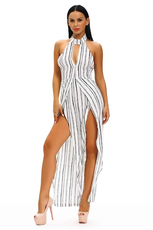 Sleeveless Striped Slit Leg Jumpsuit in White Black