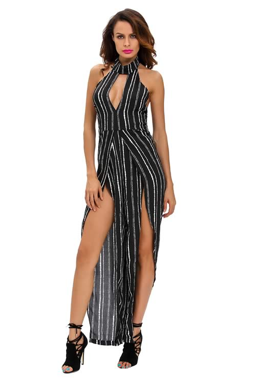 Sleeveless Striped Slit Leg Jumpsuit in Black White
