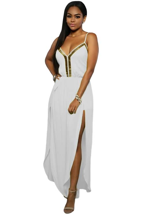 Slit Leg Gold Hardware Decor Crisscross Back Jumpsuit in White