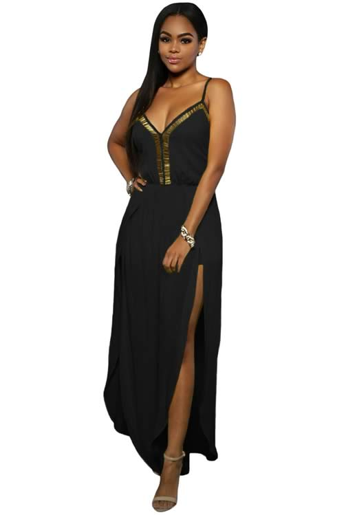Slit Leg Gold Hardware Decor Crisscross Back Jumpsuit in Black