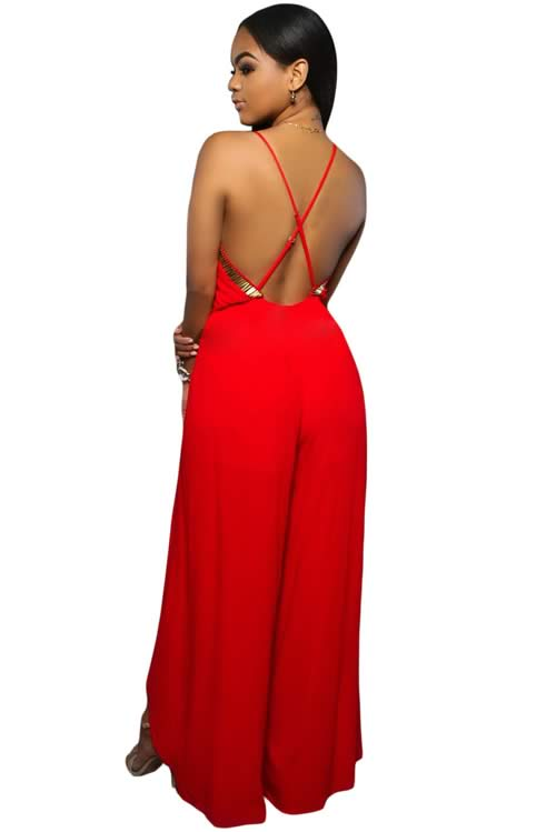 Slit Leg Gold Hardware Decor Crisscross Back Jumpsuit in Red
