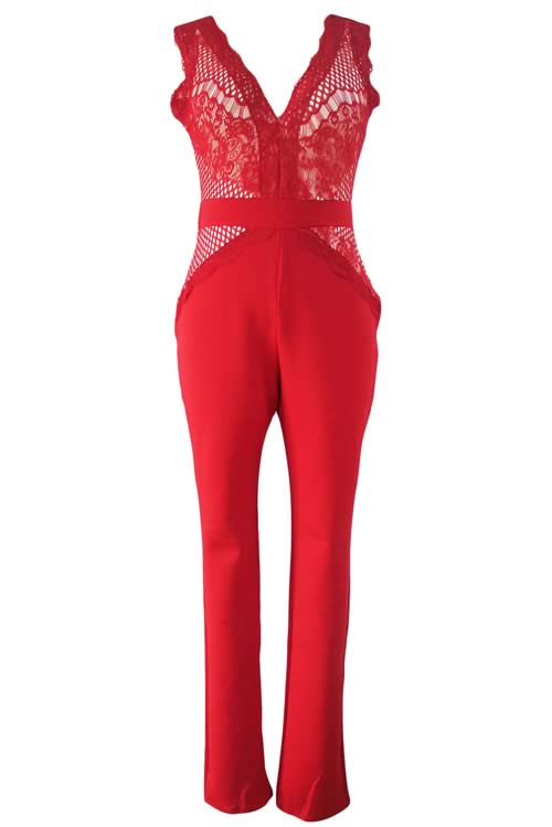Sleeveless V Neck Sheer Lace Party Jumpsuit in Red