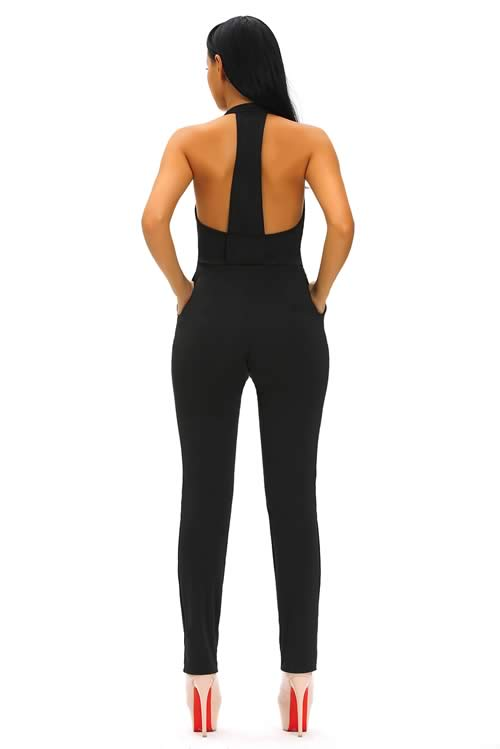 Halter Deep V Neck Zipped Front Jumpsuit in Black
