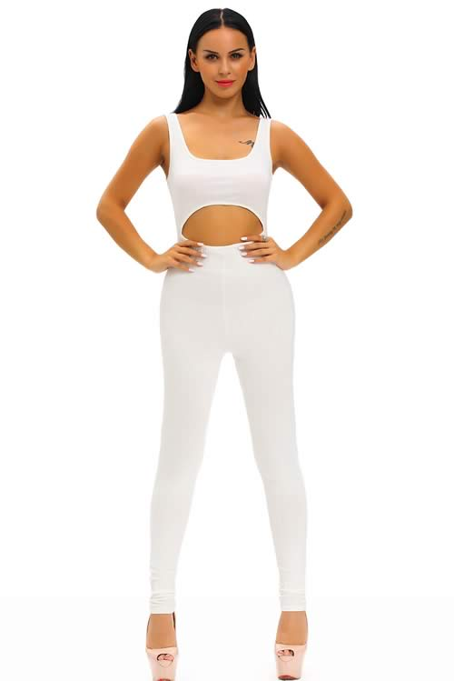 93faf32803c Sleeveless Ribbed Cut Out Tank Jumpsuit in White