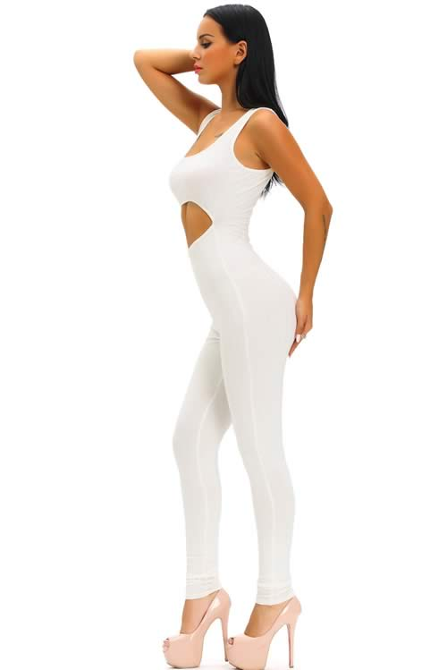 Sleeveless Ribbed Cut Out Tank Jumpsuit in White