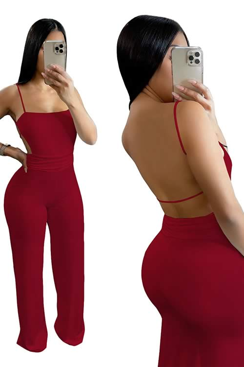 Deep V Neck Backless Thigh High Slit Party Jumpsuit in Red