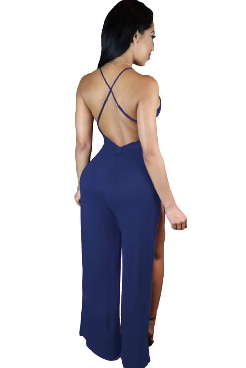 Deep V Neck Backless Thigh High Slit Party Jumpsuit in Blue