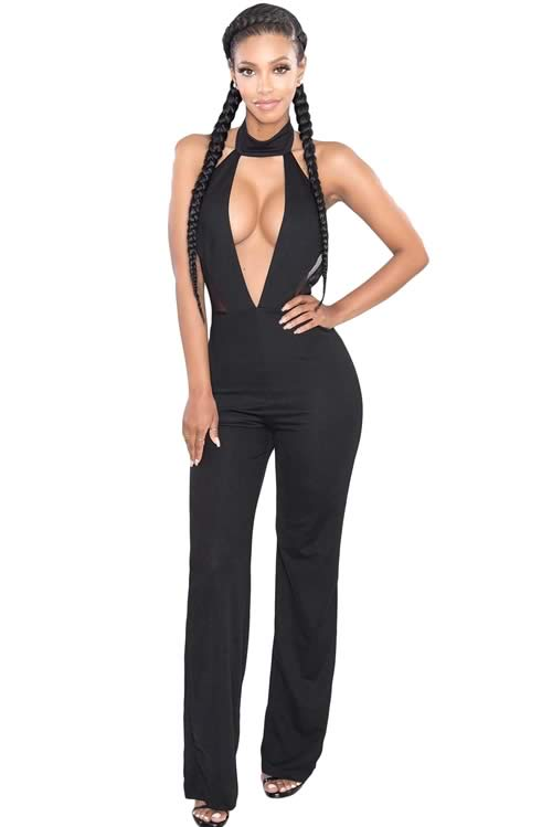 Sleeveless Cutout Mesh Insert Choker Party Jumpsuit in Black