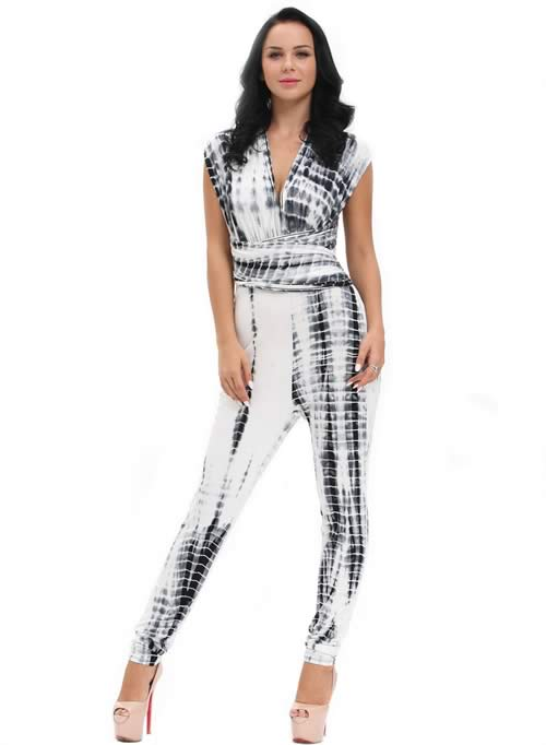 Tie Dye Crisscross Multiway Bandeau Jumpsuit in Black White