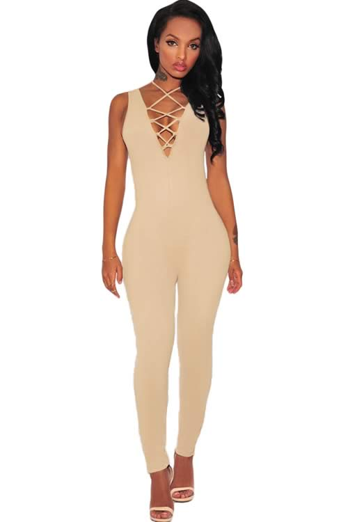 Thick Milk Silk Sleeveless Lace Up V Neck Jumpsuit in Pink
