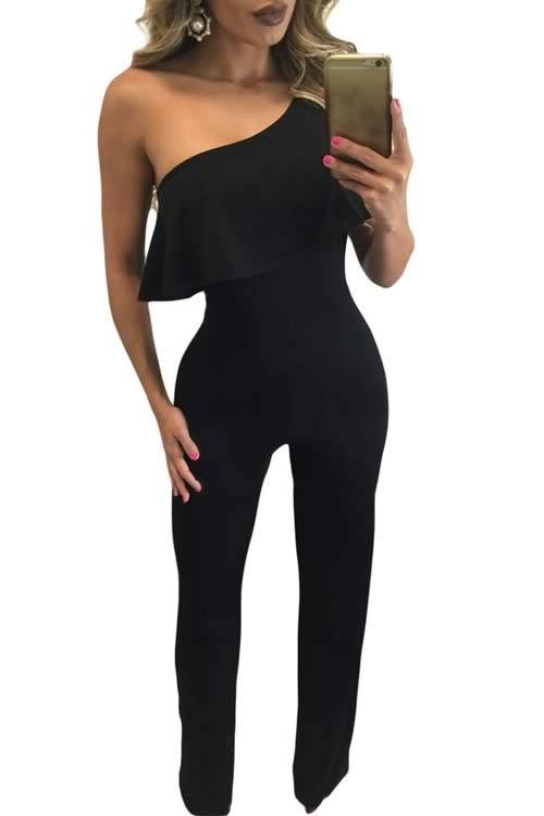 Strapless Sleeveless One Shoulder Ruffle Bodycon Jumpsuit in Black