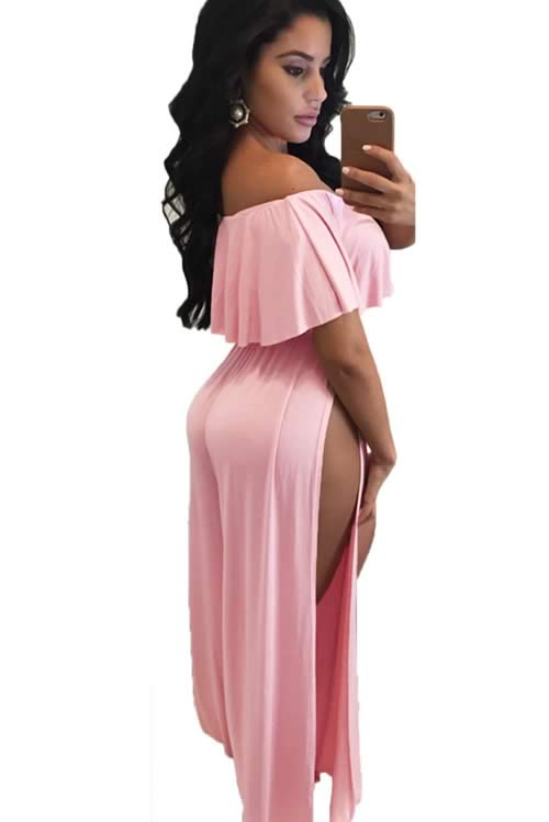 Ruffle Off Shoulder High Slit Wide Leg Jumpsuit in Pink