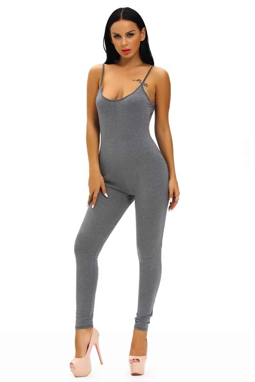 Sleeveless Spaghetti Strap Stretch Jumpsuit in Grey