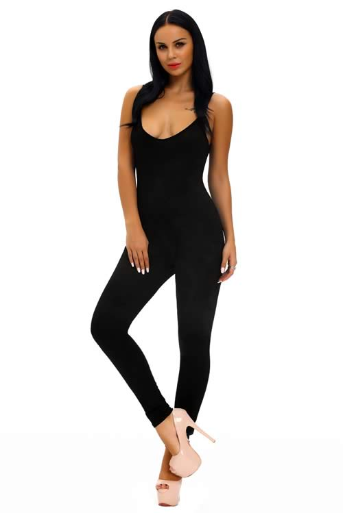 Sleeveless Spaghetti Strap Stretch Jumpsuit in Black
