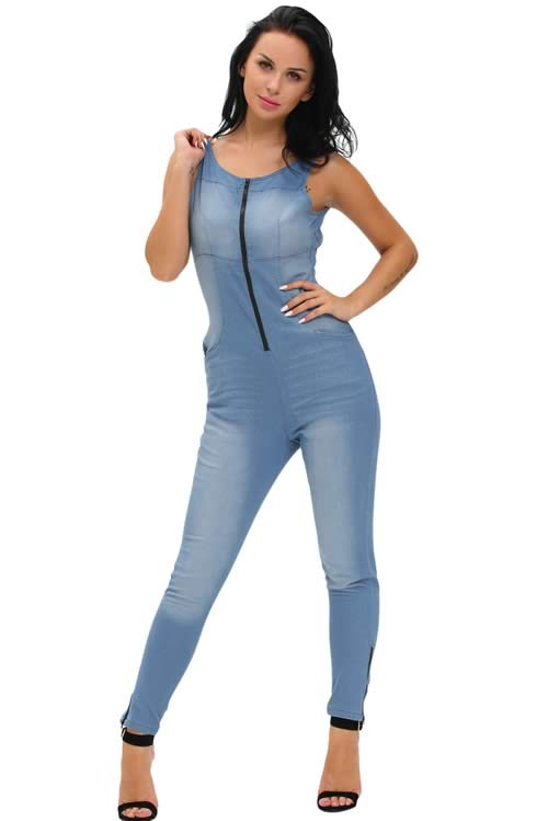 Sleeveless Backless Stretch Zipper Denim Jumpsuit in Blue