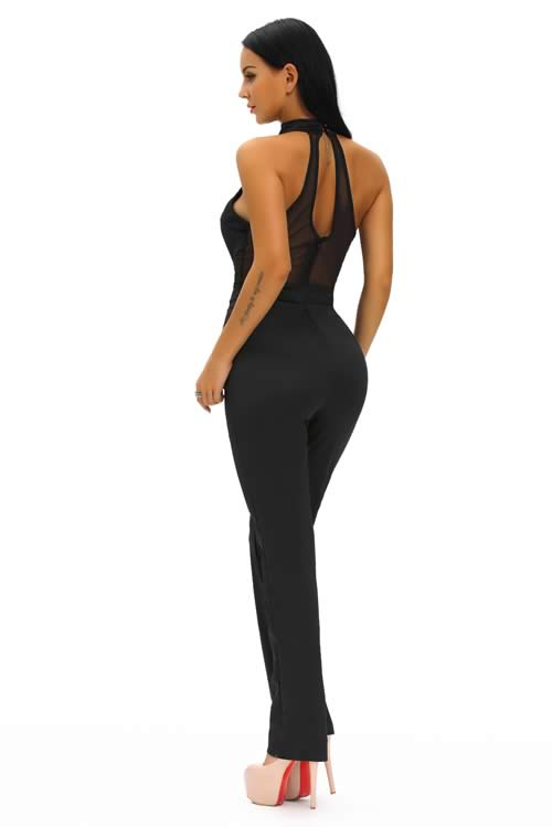 V Neck Sheer Mesh Plunging Choker Wide Leg Jumpsuit in Black