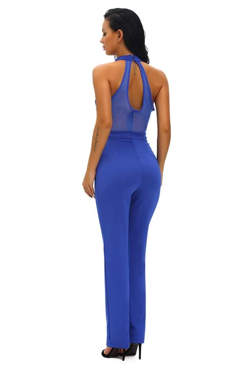 V Neck Sheer Mesh Plunging Choker Wide Leg Jumpsuit in Blue
