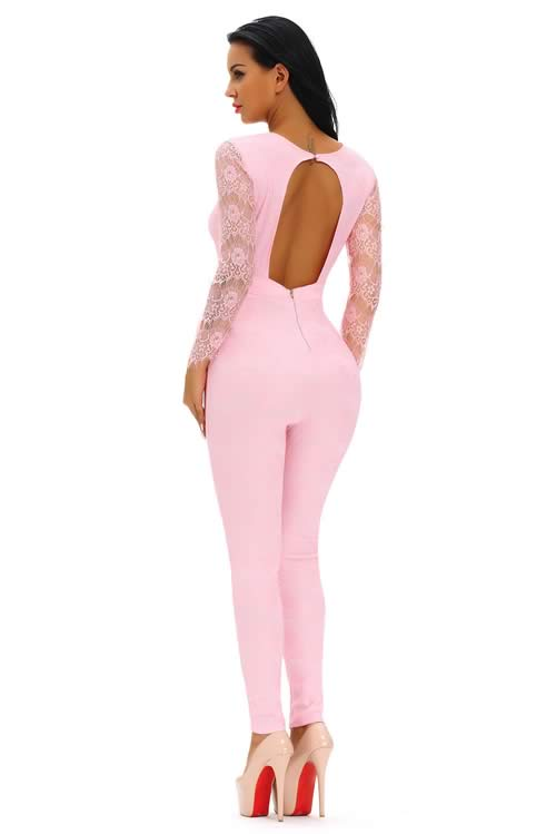 Lace Long Sleeve V Neck Keyhole Back Jumpsuit in Pink
