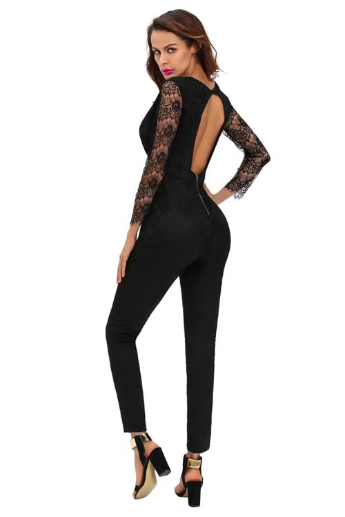 Lace Long Sleeve V Neck Keyhole Back Jumpsuit in Black