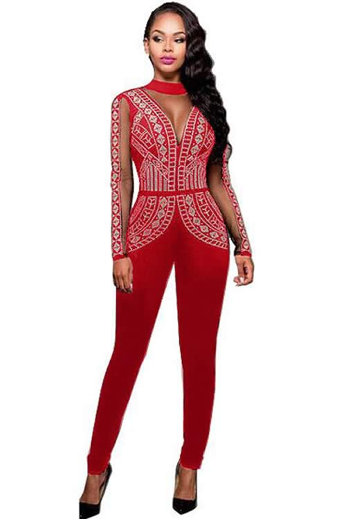 Long Sleeve Steampunk Studded Pattern Mesh Insert Jumpsuit in Red