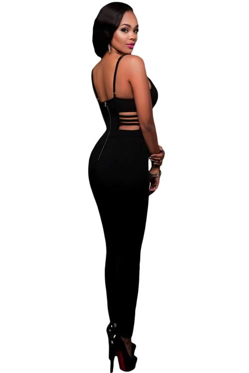 Spaghetti Strap Sleeveless Cutout Bustier Jumpsuit in Black