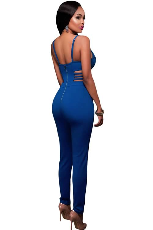 Spaghetti Strap Sleeveless Cutout Bustier Jumpsuit in Blue