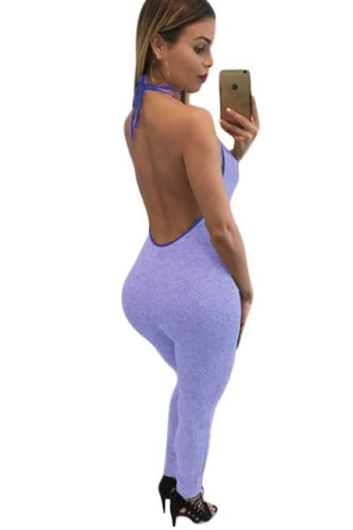 Sleeveless Open Back Lace up V Neck Jumpsuit in Purple