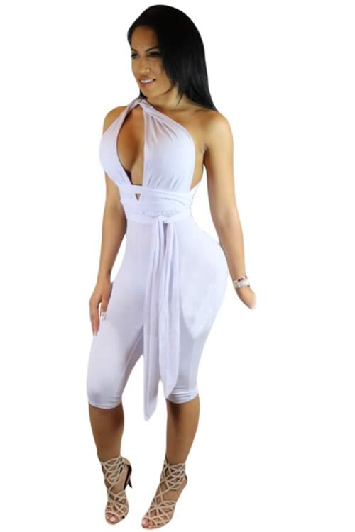 Sleeveless Strap Wrap Cropped Jumpsuit in White